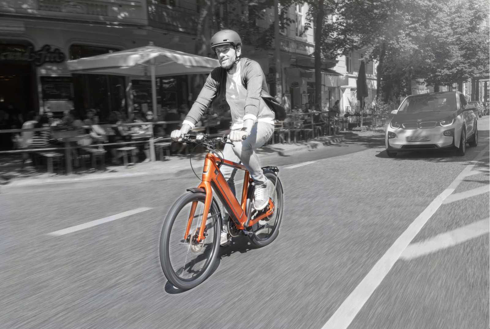 Man riding an e-bike in the city